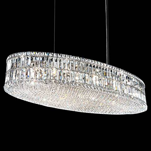 "Schonbek Plaza 48""W Polished Silver Crystal Pendant Light"