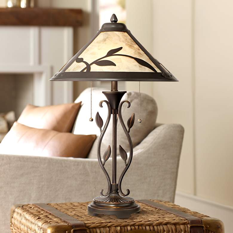 Feuille Leaf and Vine Mica Shade Table Lamp