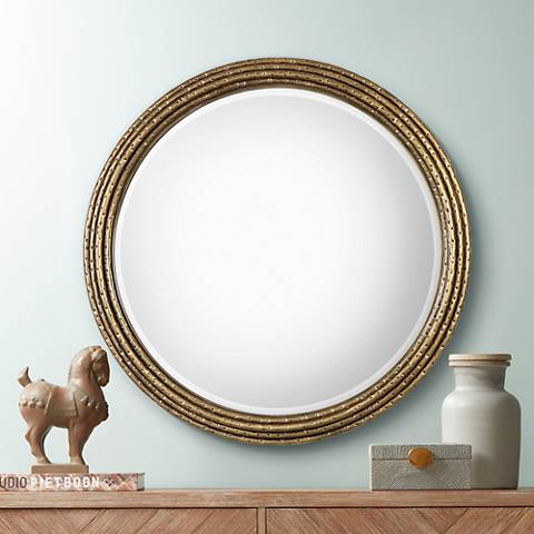 "Uttermost Spera Antiqued Gold 42 1/4"" Round Wall Mirror"