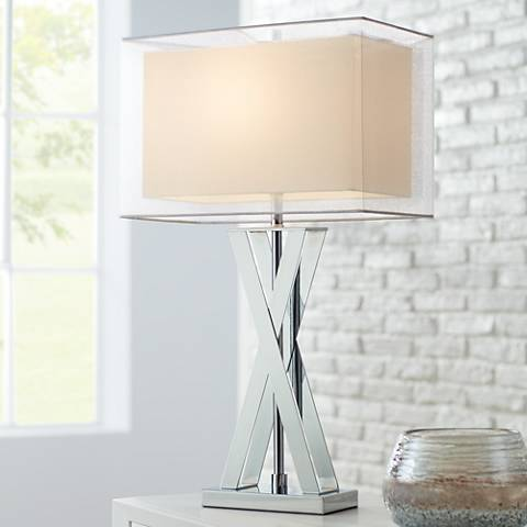 Possini Euro Proxima Double Shade Chrome Table Lamp