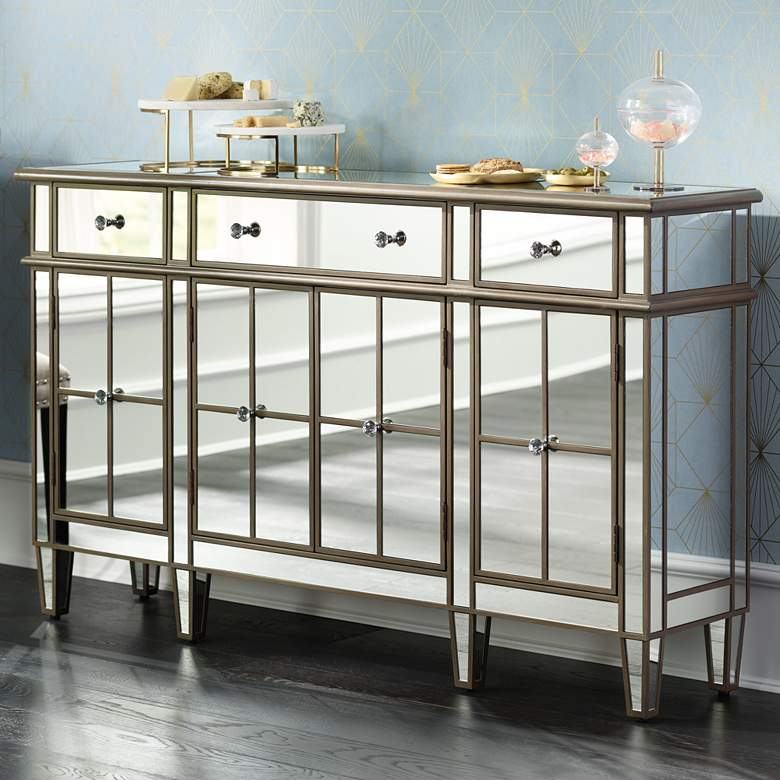 "Vicenta 60"" Wide 3-Drawer 4-Door Mirrored Console Chest"
