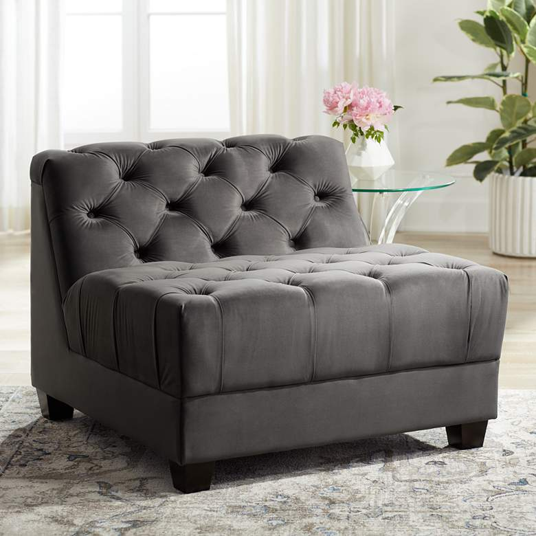Hampstead Gray Velvet Modular Armless Chair