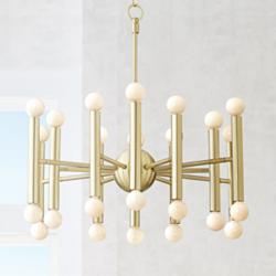 "Possini Euro Hera 26"" Wide Satin Brass Chandelier"