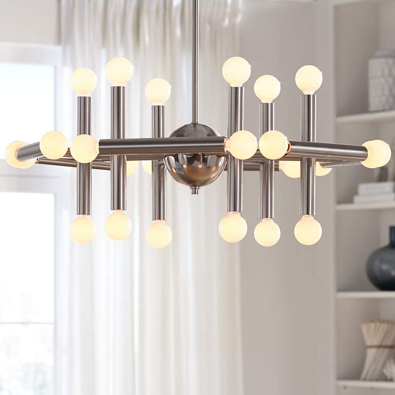 "Possini Euro Hera 26"" Wide Brushed Nickel Chandelier"