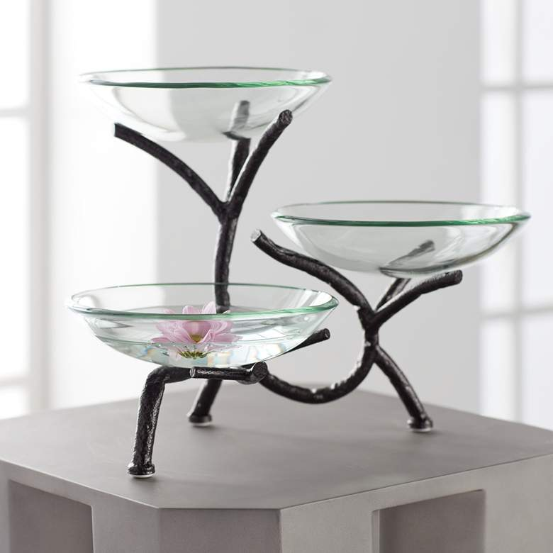 "Metal Branching 12"" High 3-Tier Stand with Glass Bowls"