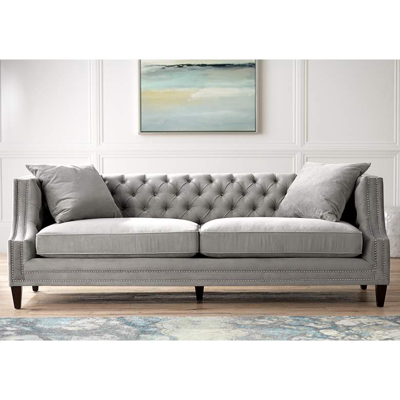 "Marilyn 93"" Wide Gray Velvet Tufted Upholstered Sofa"