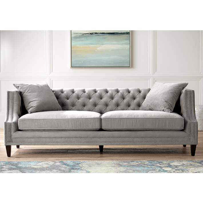 Marilyn 93 Wide Gray Velvet Tufted