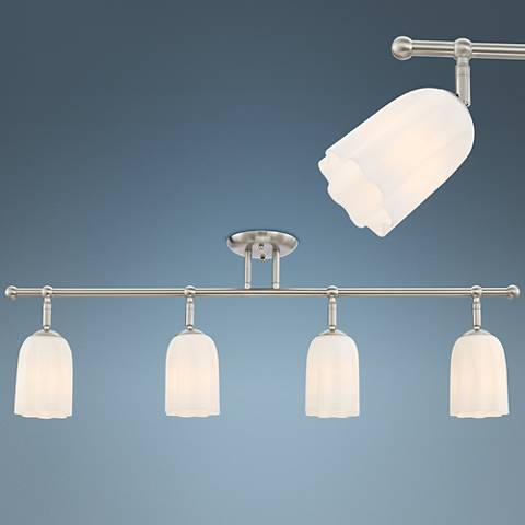 Pro Track Bic White Glass Satin Nickel 4-Light Track Fixture