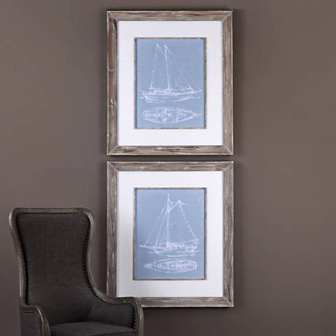 "Yacht Sketches 45""H 2-Piece Framed Wall Art Print Set"