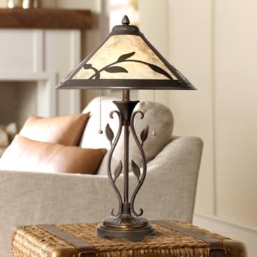Feuille Table Lamp with Mica Shade