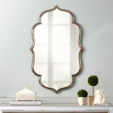 "Zina Antiqued Gold 23 3/4"" x 39 1/4"" Wall Mirror"