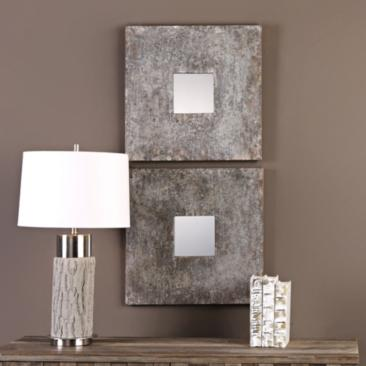 "Altha Burnished Zinc 20"" Square Wall Mirror Set of 2"