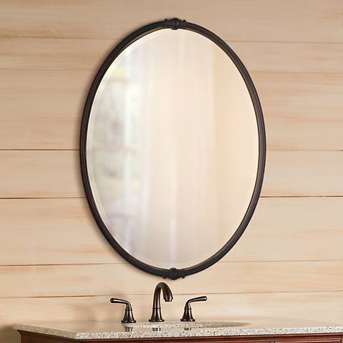 "Feiss Boulevard Collection 24"" x 33"" Oval Wall Mirror"