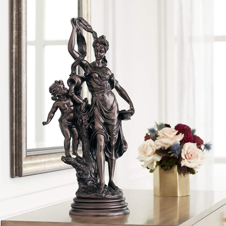 "Maiden and Cupid 27"" High Accent Sculpture"