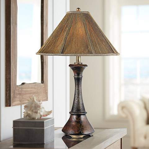 Quoizel Metal and Aged Wood Rustic Table Lamp