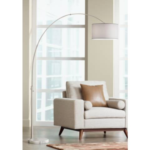 Nova Arcing Linen Shade Arc Floor Lamp 15907 Lamps Plus