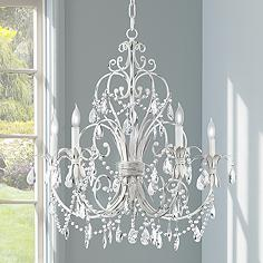 Cau Vieux Collection Antique White Five Light Chandelier