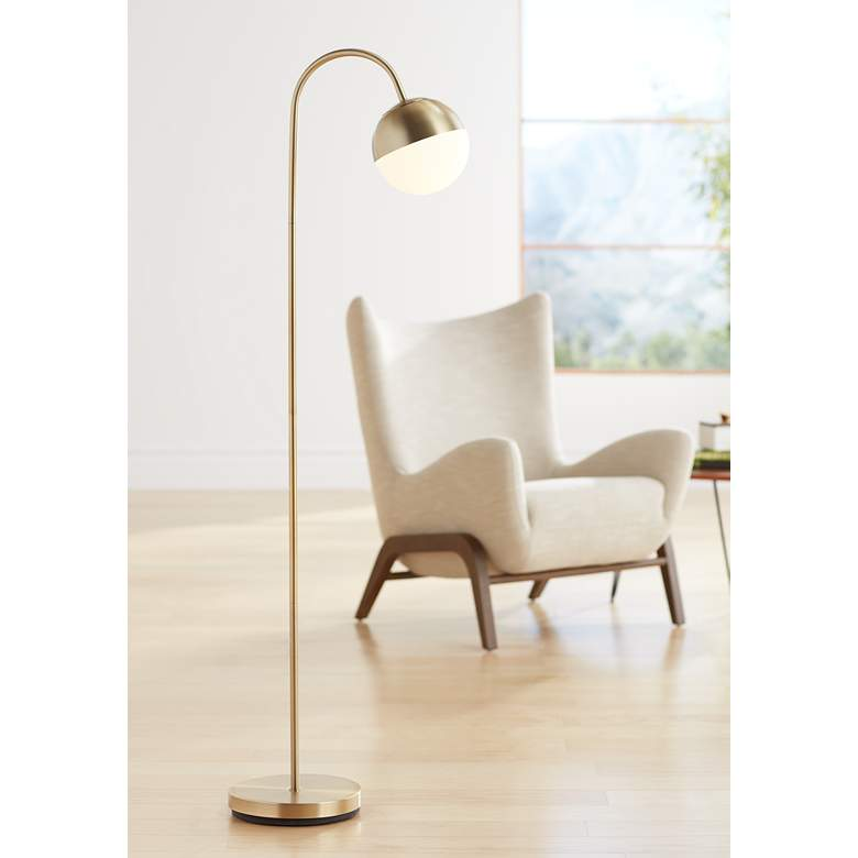 Carlton Antique Brass Glass Globe LED Floor Lamp