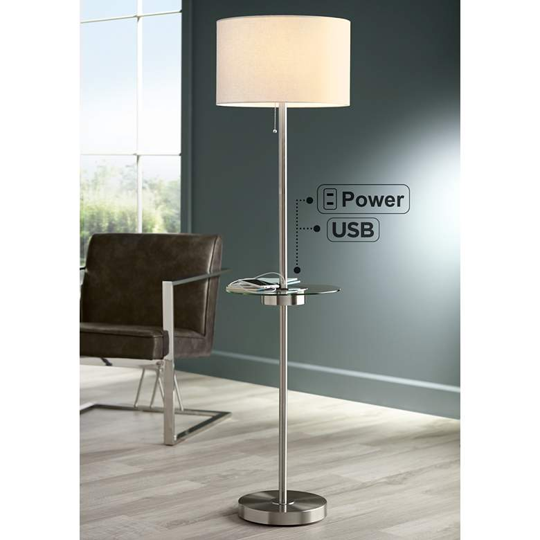 Caper Tray Table Floor Lamp With Usb Port And Outlet
