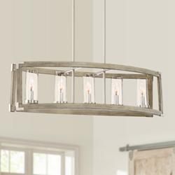 "Kerr 32 3/4"" Wide Wood Kitchen Island Light Chandelier"