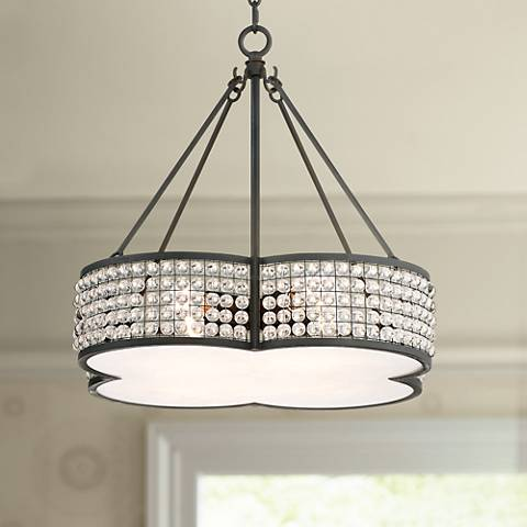"Adelia 22"" Wide Bronze with Clear Beads Pendant Light"