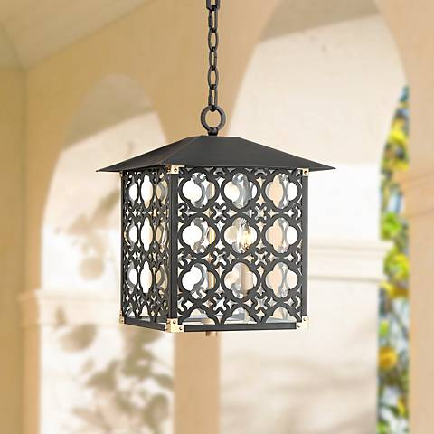 "Perlita 13"" Wide Black Outdoor Pendant Light"