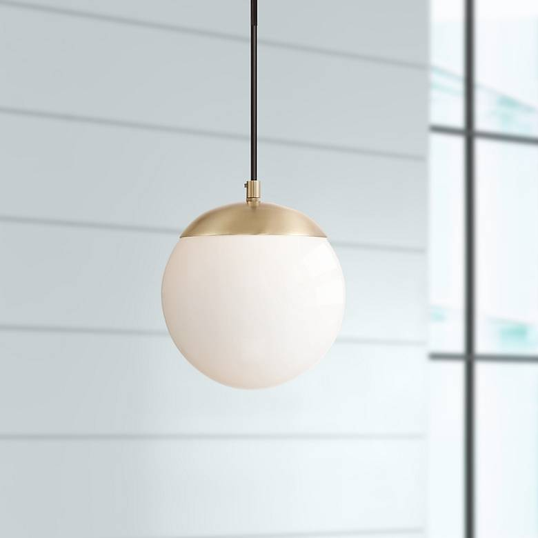 "Weland 8"" Wide Warm Brass LED Mini Pendant"