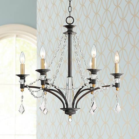 "Valeriya 25 1/4""W 6-Light Draped Crystal Bronze Chandelier"