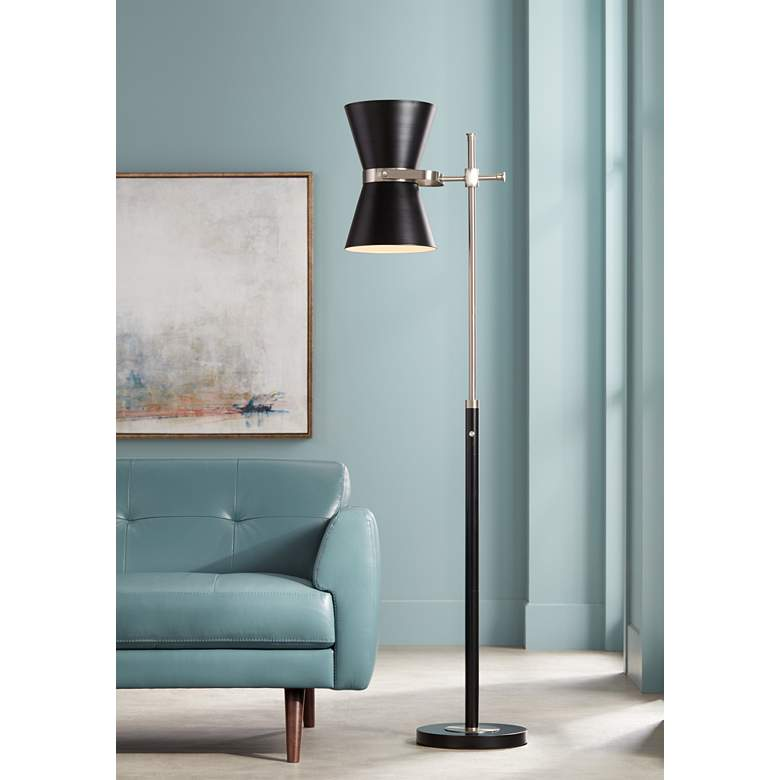 Possini Euro Oxford Black Mid-Century Floor Lamp