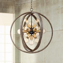 "Stedman 25"" Wide 12-Light Brass and Wood Orb Chandelier"