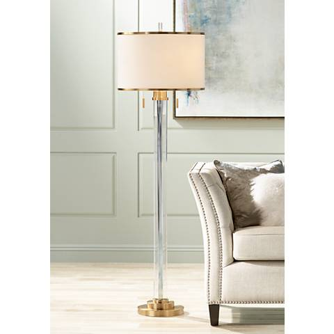 Possini Euro Cadence Crystal Column Floor Lamp Satin Brass