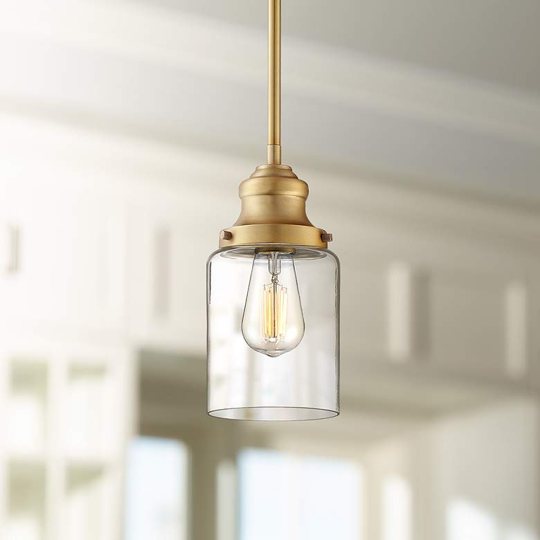 "Possini Euro Millican 5"" Wide Warm Brass Mini Pendant Light"