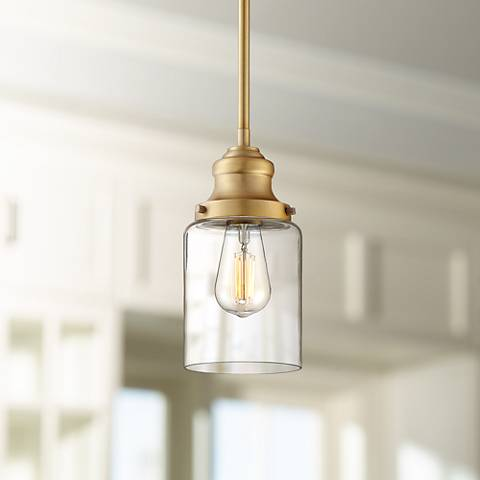 "Possini Euro Millican 5"" Wide Warm Brass Mini Pendant"