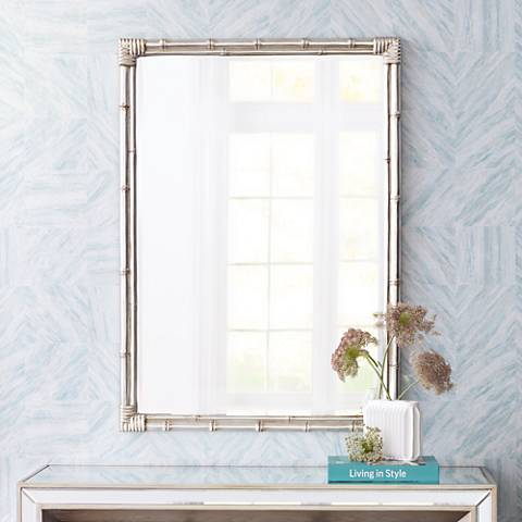 "Takeo Rectangle 31"" x 43"" Silver Bamboo Wall Mirror"