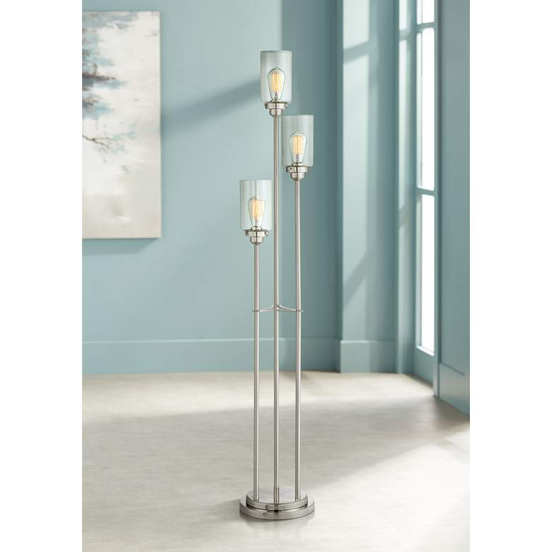 Libby Brushed Nickel Contemporary Floor Lamp