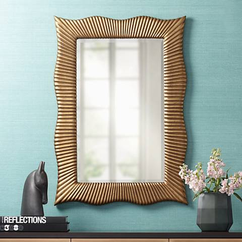 "Wave Gold Ribbed 27 1/2"" x 39"" Rectangle Wall Mirror"