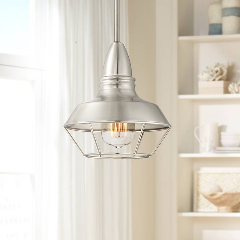 "Possini Euro Hadrien 8"" Wide Brushed Nickel Mini Pendant"