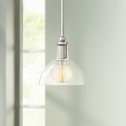 "Possini Euro Ollie 7 1/2"" Wide Brushed Nickel Mini Pendant"