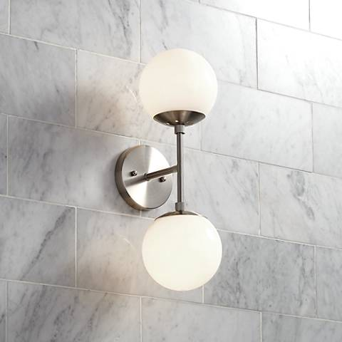 "Oso 17 3/4"" High Opal Glass Brushed Nickel Sconce"