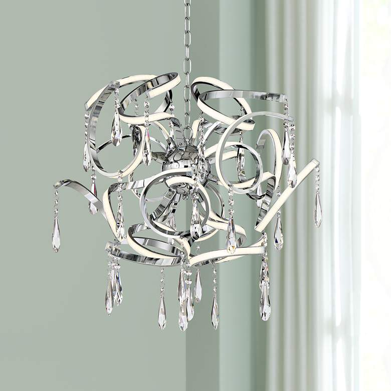 "Possini Euro Curlz 25"" Wide Chrome LED Pendant"