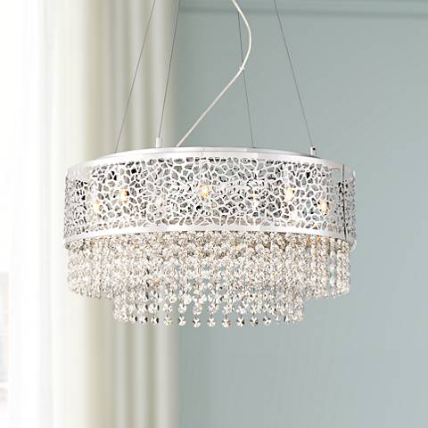 "Felicity 18 1/2"" Wide Chrome 8-LED Pendant Light"