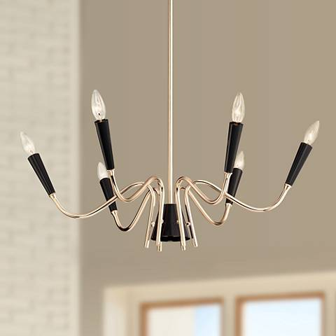 "Chris 29"" Wide French Gold and Black 6-Light Chandelier"