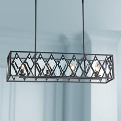 "Ravinder 34""W Bronze Crystal Kitchen Island Light Chandelier"