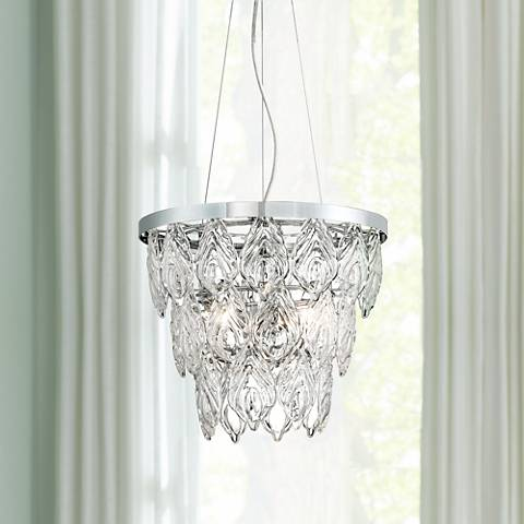 "Possini Euro Pallavi 16 1/4"" Wide Crystal Leaf Chandelier"