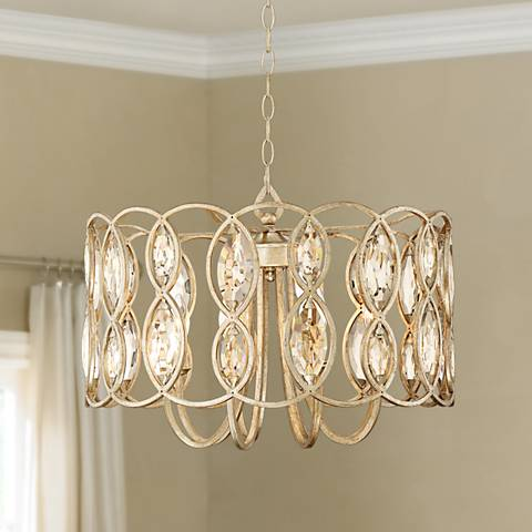 "Bellmont 22 1/2"" Wide 8-Light Silver Leaf Pendant Light"