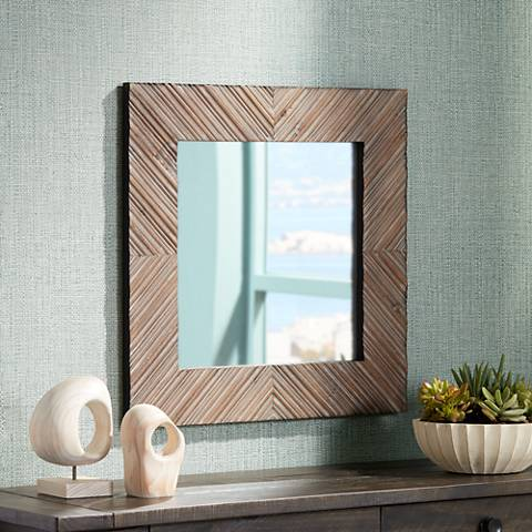 "Reyes Natural Wood Slat Pattern 23 3/4"" Square Wall Mirror"