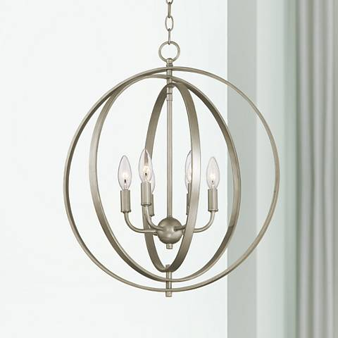 "Possini Euro Brockport 20 1/2"" W Brushed Steel Foyer Pendant"