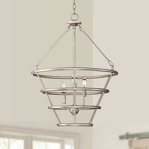 "Possini Euro Houghton 21"" Wide Brushed Steel Pendant Light"