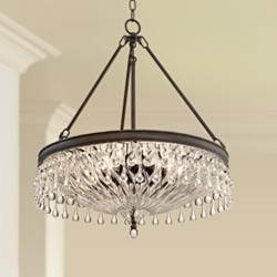 "Macey 20 1/4"" Wide Bronze Crystal Chandelier"