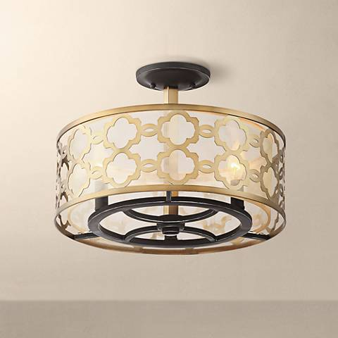 "Possini Euro Lata 15 3/4"" Wide Antique Brass Ceiling Light"